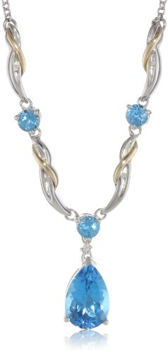 Sterling Silver and 14k Yellow Gold Diamond and Swiss Blue Topaz Necklace, 17