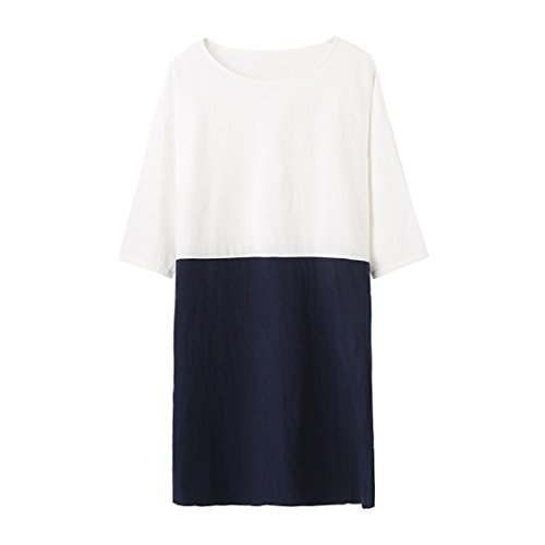 3 Pullover Dress 4 Splice Coolred Pocketed Linen Loose Women Long Pattern1 Sleeve Solid qBwOtOgx8