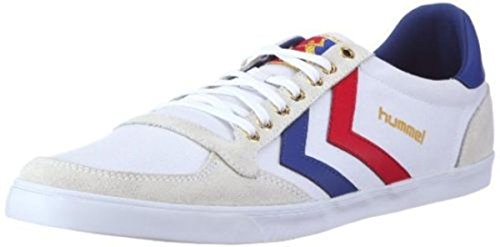 Hummel Slimmer Stadil Lo Canvas White Red Blue New Mens Trainers Shoes Boots