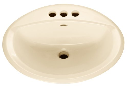 American Standard 0476.028.021 Aqualyn Self Rimming Countertop Sink with 4-Inch Centers and Tapered Edges, Bone (Hole Self Rimming Lavatory Sink)