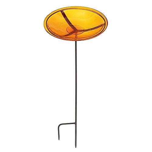 Achla Designs Crackle Glass Birdbath Bowl with Stake, 14-in, Mandarin