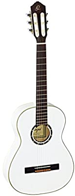 Ortega Guitars R121-3/4WH Family Series 3/4 Body Size Nylon 6-String Guitar with Spruce Top, Mahogany Body, White Gloss