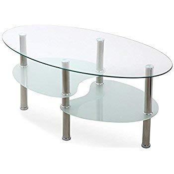 Amazoncom Suncoo Glass Coffee Table For Homeoffice Transparent
