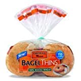 Thomas Bagel Thins 100% Whole Wheat - 8 Thin Bagels - 13 oz (Pack of 2)