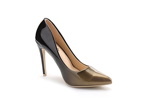 Mila Lady BONNIE08 Women Fashion Embellished Sparkles Contrast Color Pointed Toe Pumps High Heel Stilettos Sexy Slip On Dress Shoes, Bronze/Bk