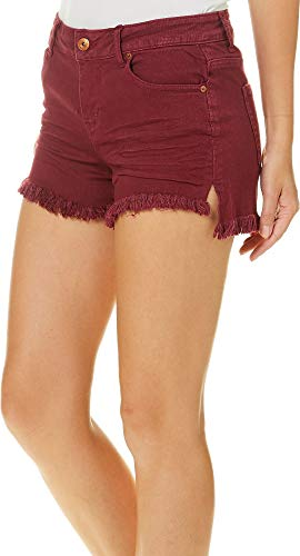 Vanilla Star Juniors Frayed Ripped Denim Shorts (Port, - Port Vanilla