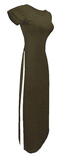Taille Uni Courtes Manches Femme Noir 21fashion Robe Kaki Unique Rwz1Ywq
