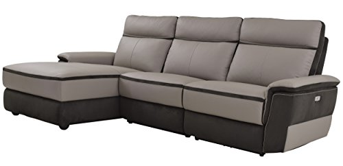 Homelegance Laertes Two-Tone Power Reclining Sofa with Left Side Chaise Top Grain Leather Fabric Match, Light Grey ()