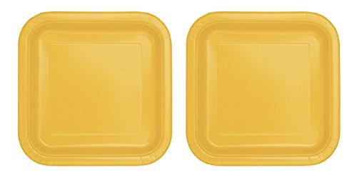 Square Yellow Paper Plates, 14ct (2 pack)