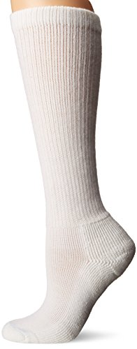 (Thorlos Women's  HPOW Diabetic Thick Padded Over the Calf Sock, White, Medium)