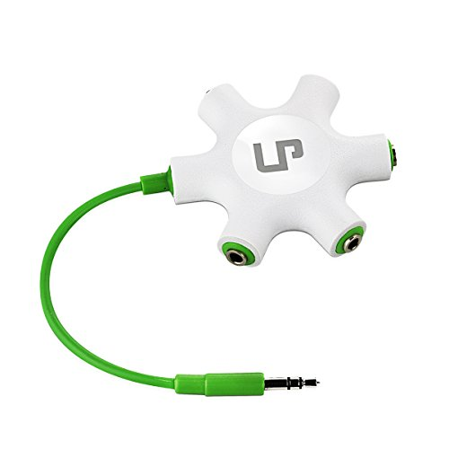 LP Headphone Splitter,3.5mm Headphone Earphone Audio Splitter 1 Male to 2 3 4 5 Female Cable (Green)