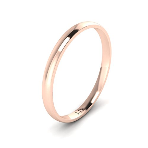 Unisex 14k Rose Gold 2mm Light Court Shape Comfort Fit Polished Wedding Ring Plain Band (3) ()