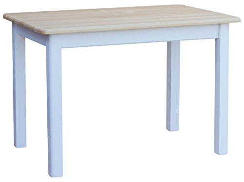 COMA Cocina Mesa 100x 60cm comedor mesa (Madera de pino blanco miel Nuevo fabric