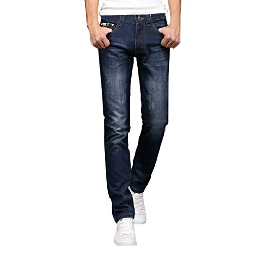 Pencil Men Jeans - Men's Skinny Fit Jeans | Men Casual Straight Slim Fit Washed Pencil Denim Pants | Casual Fashion Relaxed Trousers