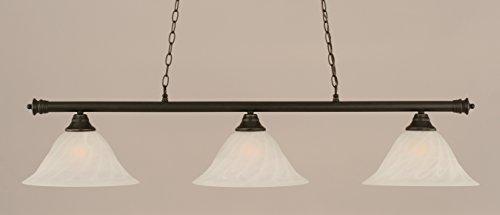 (Toltec Lighting 373-DG-5731 Oxford - Three Light Billiard, Dark Granite Finish with White Alabaster Swirl Glass)