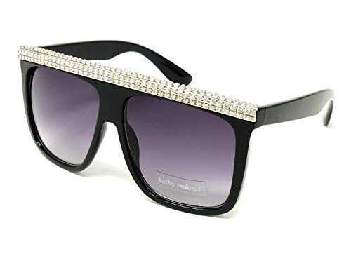Kathy Ireland Eyewear STEPHANIE Black with Silver Diamonds on Flat-top frame Sunglasses in Gradient Smoke lens (Dark Flattop)