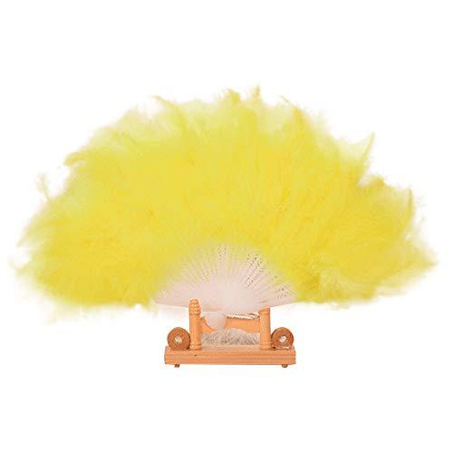 Yu2d  Wedding Showgirl Dance Elegant Large Feather Folding Hand Fan Decor Decal Yellow(Yellow) ()
