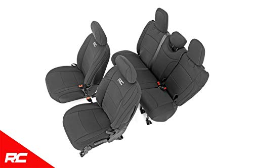 Rough Country 91010 Neoprene Seat Covers Black Set Compatible w/ 2018-2019 Jeep Wrangler JL 4DR Water Resistant
