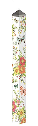 Studio M Choose Happy Art Pole Floral Spring Outdoor Decorative Garden Post, Made in USA, 60 Inches Tall