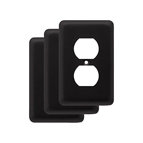 Franklin Brass W10249V-FB-C Stamped Round Single Duplex Outlet Wall Plate / Switch Plate / Cover, Flat Black, - Cover Black Metal