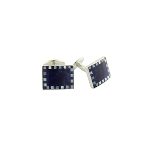 David Donahue Men's Sterling Silver Rectangle Mother of Pearl Cufflinks-Blue Sodalite (CL518802)