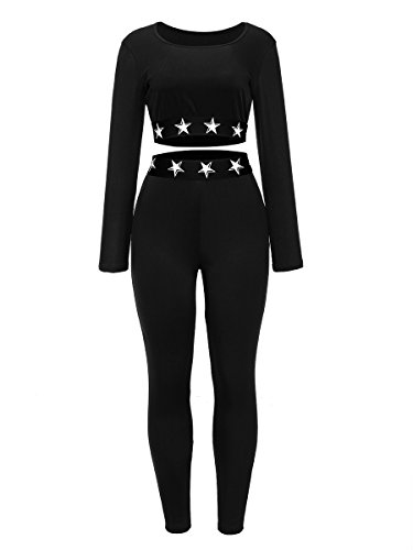 2 Piece Outfits for Women Stretch Solid Long Sleeve Round Neck Crop Top + Bodycon Long Pants Black, (70's Workout Outfits)