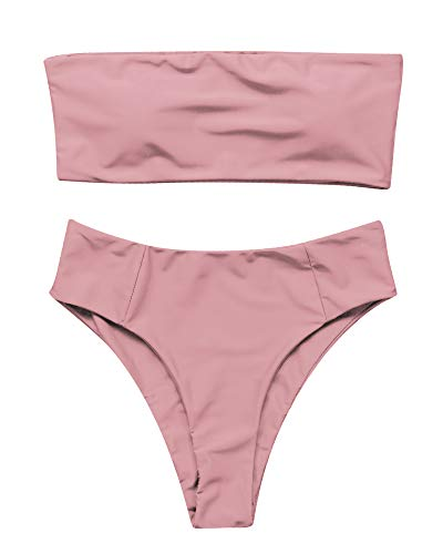 (OMKAGI Women's 2 Pieces Bandeau Bikini Swimsuits Off Shoulder High Waist Bathing Suit High Cut(S,Pink))