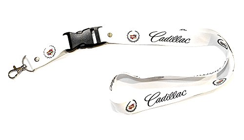 (Cadillac Lanyard White with Black Logo 1 inch x 22 inch Key Chain ID Badge Card Holder Hanger)