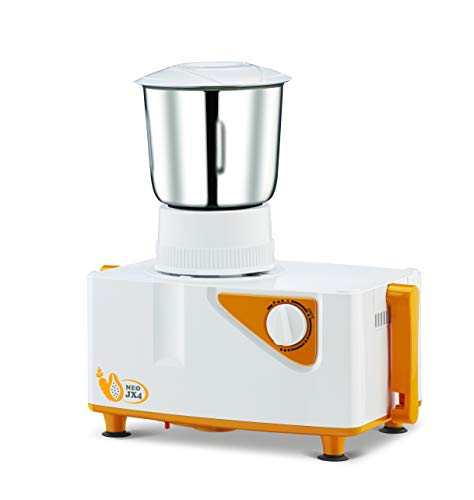 Bajaj Neo JX4 450-Watt Juicer Mixer Grinder with 2 Jars (White/Orange) 4