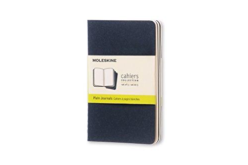 Plain Reporter Notebook (Caderneta Cahier, Azul,  Conjunto com 3 Unidades, Sem Pauta, Tamanho Bolso (Cahier Journals))