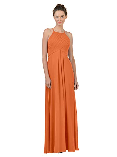 Alicepub Long Chiffon Plus Size Bridesmaid Dress Maxi Evening Gown A Line Plus Party Dress, Orange, US0 (Burnt Orange Bridesmaid Dresses)
