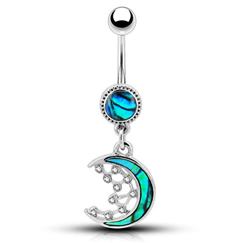 OUFER 14G Stainless Steel Belly Button Rings Abalone Crescent Moon and CZ Stars Dangle Navel Rings Belly Piercing