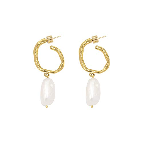 LANE WOODS 925 Sterling Silver Post Irregular Genuine Freshwater Cultured Pearl Gold Plated Open Cuff Hoop Stud Drop Dangle Earrings Gifts for Her Women Ladies (Gold 7)