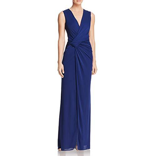 BCBG Max Azria Womens Mirina Full-Length Faux Wrap Evening Dress Navy S