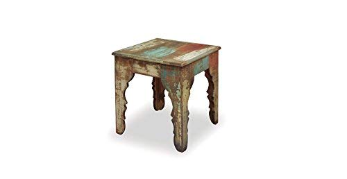Painted Distressed Wood Bookcase - Crafters and Weavers Rustic Distressed Painted Solid Wood End Table or Side Table