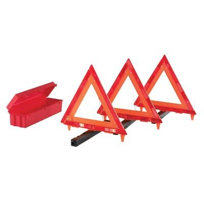 (Cortina Safety Products Fluorescent Orange Acrylic 3-Piece Triangle Warning Kit With (3) Triangles in Living Hinge Box)