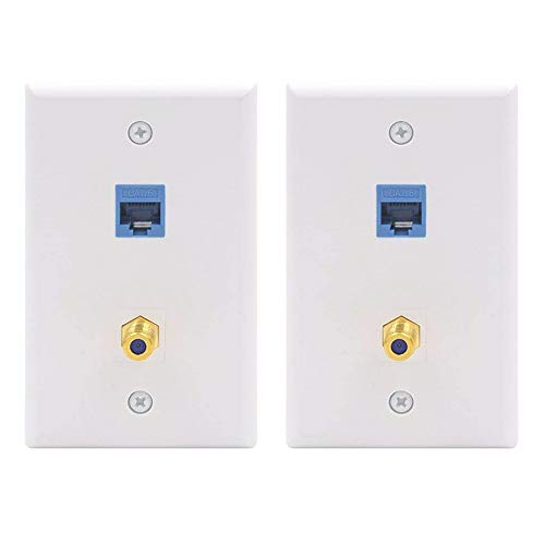 ([UL Listed] VCE(2-Pack) 2 Port Cat6 Keystone Jack Coupler Gold-Plated RG6 Keystone Jack Insert Wall Plate)