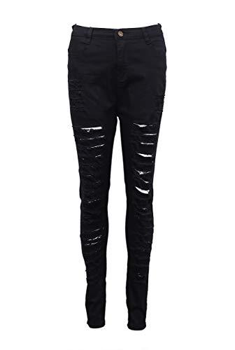 Sexy Skinny Usé Noir Denim En Longue Femme Aspect Slim Troué Jean Blanc Destroy Pantalons OxTwRAqaw