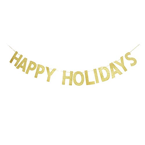 Happy Holidays Banner, Gold Gliter Paper Sign Christmas Banner Decorations/Holiday/Ne Year Decorations (Happy Holidays Banner)