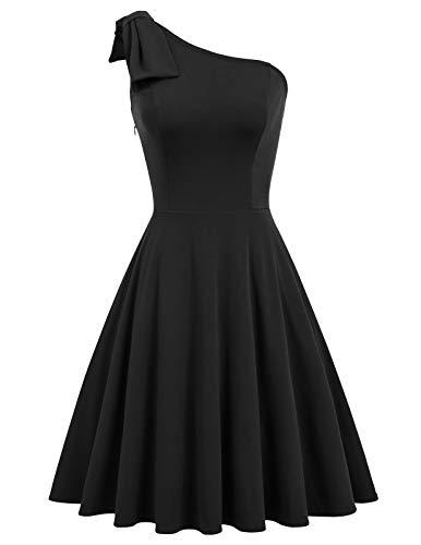 (Jasambac Black One Shoulder Dress for Women Party Swing Dress Size S Color Black)