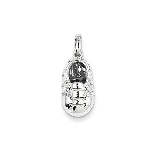 14k White Gold Diamond Baby Boy Shoe Pendant Diamond quality AA (I1 clarity, G-I (Diamond White Gold Baby Bracelets)