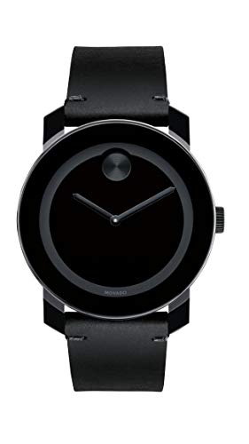 Movado Men's BOLD TR90 Watch with a Sunray Dot and Leather Strap, Black (Model 3600306) (Swiss Men Leather Watch)