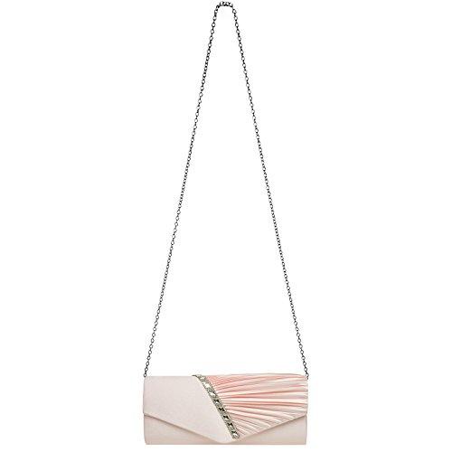 Strass CASPAR and Evening Elegant TA391 Ladies with Bag Satin Decor Design Clutch Gathered Pink PrPvwX