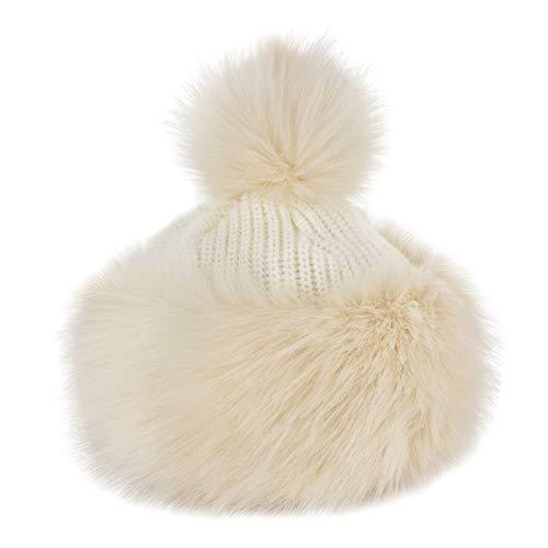 - Futrzane Faux Fox Fur Winter Tatars Hat for Women Cossack Pompom Ski (Ecru)