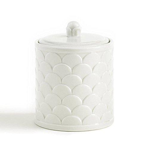 Cotton Jar, Kassatex Scalah Bath Accessories | Embossed Porcelain by Kassatex