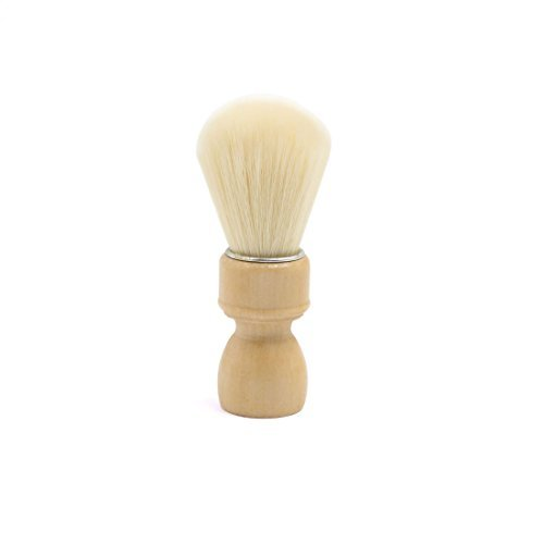 DealMux Beige Wood Handle Portable Beard Shaving Brush Shave Clean Barber Tool for Men