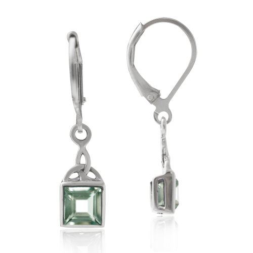 Green Amethyst 925 Sterling Silver Triquetra Celtic Knot Leverback Earrings (Green Amethyst Earrings Silver)