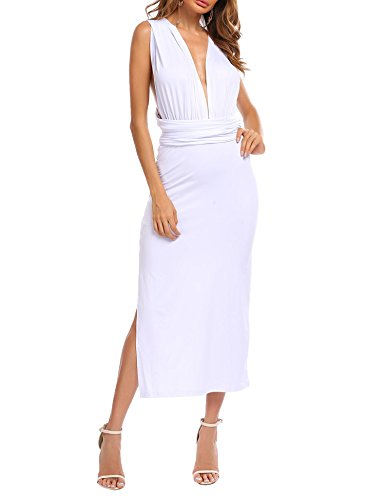 Zeagoo Women Convertible One Shoulder Backless Plunge Neck High Slit Solid Multiway Party Cocktail Bridesmaid Maxi Bandage Dress,White,Large