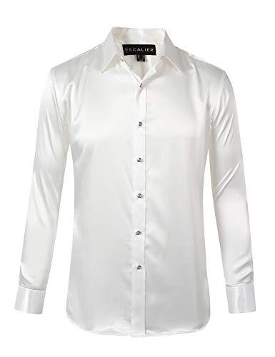 Escalier Mens Long Sleeve Shiny Silk Like Satin Dance Prom Dress Shirt Party Button Down Tuxedo Shirts White S (Mens Dance Clothing)