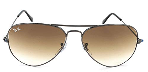 Ray-Ban RB3025 Aviator Sunglasses, Gunmetal/Brown Gradient, 58 mm ()
